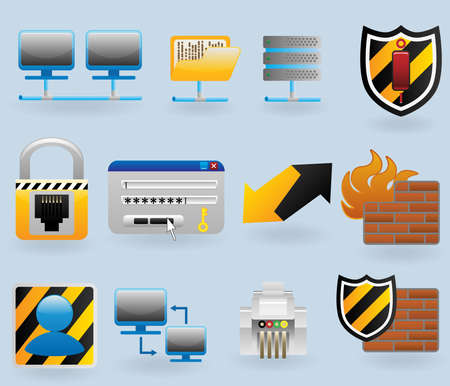network security: Computer and network icons set