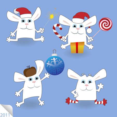 bengal fire: Christmas Rabbits set