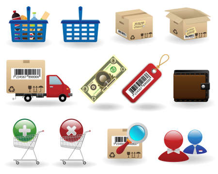 shipments: shopping icons set