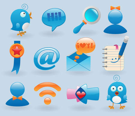 social media icons set Stock Vector - 8544088