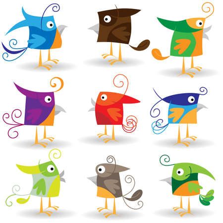 Colecci�n de aves de divertidos dibujos animados Foto de archivo - 8544073