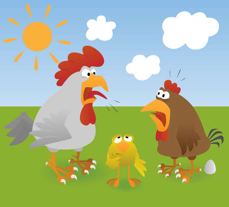 Rooster, hen, chicken and egg
