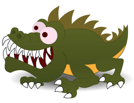 grin: Crocodile cartoon character illustration Illustration