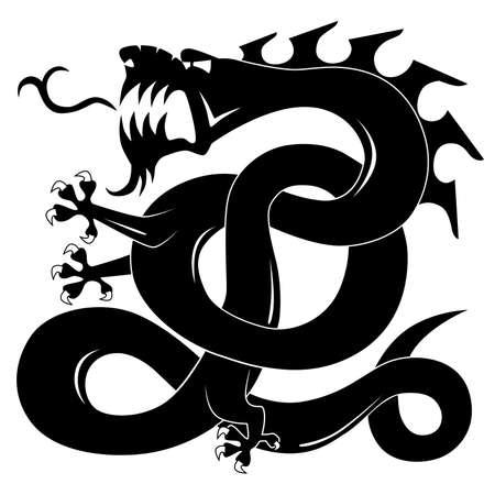 Black attacking dragon Vector