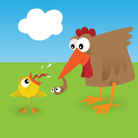 Chicken and worm Vector