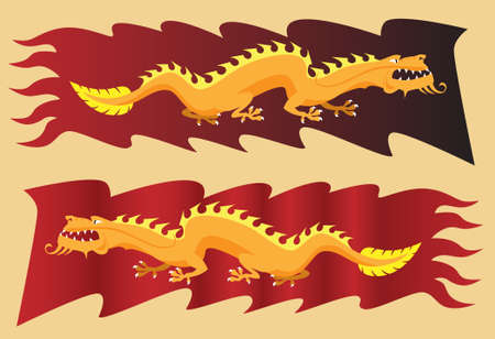 dynasty: Golden dragon on red banner Illustration