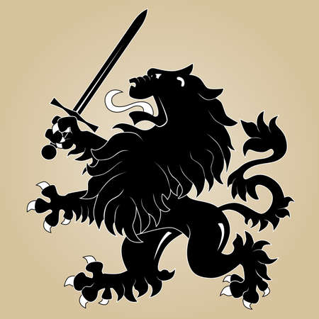 Heraldic lion with sword Stock Vector - 8544047