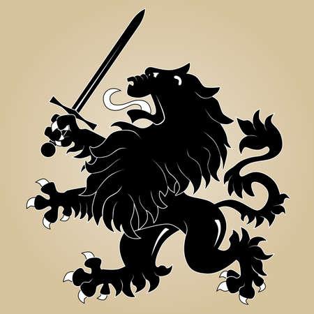 chevalerie: Lion h�raldique avec �p�e Illustration