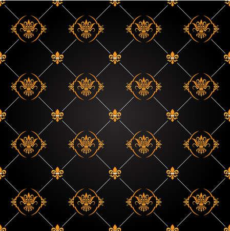 barocco: Seamless antico nero e oro pattern