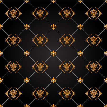 antique wallpaper: seamless antique black and gold pattern Illustration