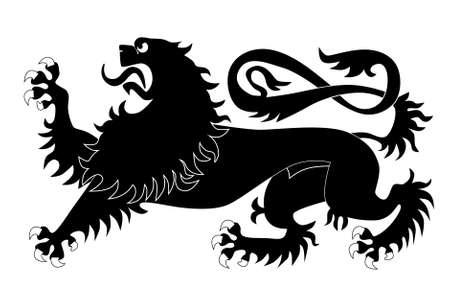 Silhouette of heraldic lion Vector