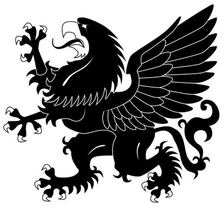 Standing heraldic griffin Vector