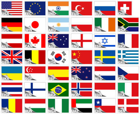 Flags of the world set (stickers collection)