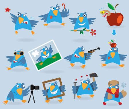 Colección de pájaros azules graciosos, ilustración para diseño web Foto de archivo - 8835690