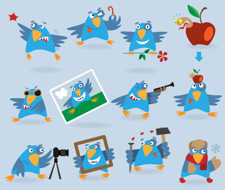 Collection of funny blue birds, illustration for web design Vector