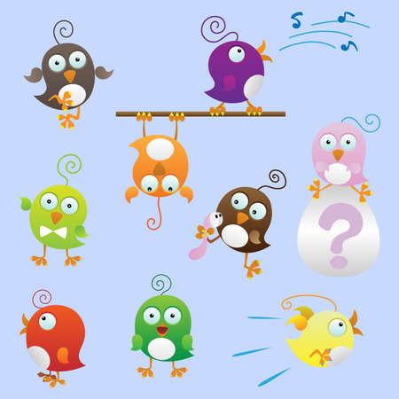 Funny fat birds set (Illustration for web design)