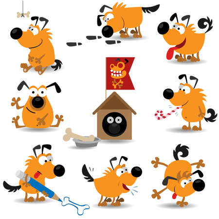 animals and pets: Funny dogs (Illustration for web design)