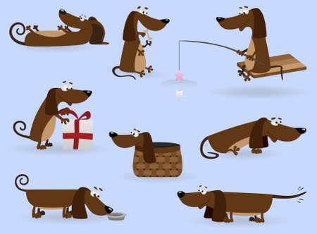 playful: Funny dachshund set (Illustration for web design)