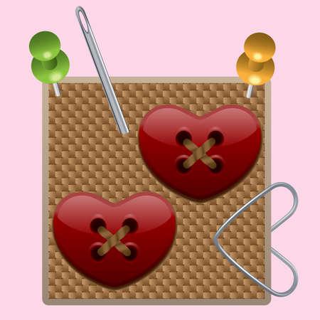 webbed: Heart buttons (Illustration for web design) Illustration