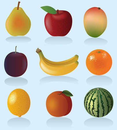 Fruit set (Vector Illustration for web design) Vector