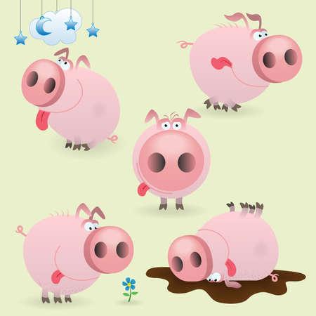 cerdo caricatura: Conjunto de cerdo poco gracioso Vectores