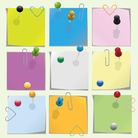 pin board: Multicolored note paper with push pins and clips collection