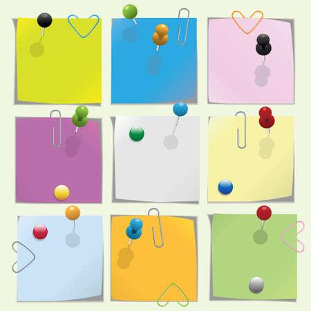 Papier multicolores avec push épingle et vidéos collection Vecteurs