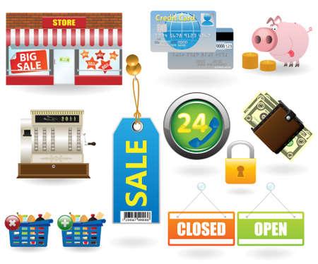 caja registradora: Icono de compra establecido # 2