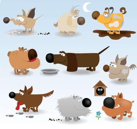 Ensemble de chiens funny Cartoon Illustration