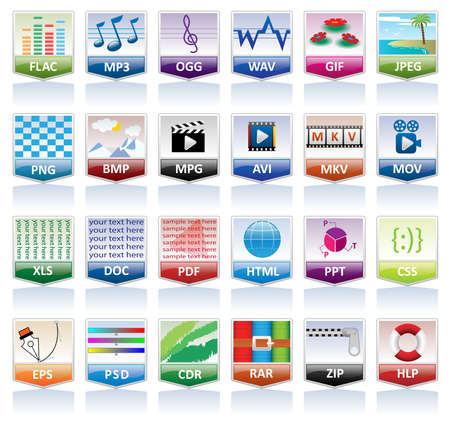 Document icons set (file extension) Vector