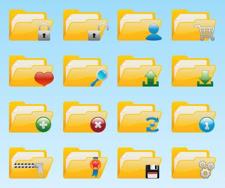 archivi: Set di icone di cartella lucido