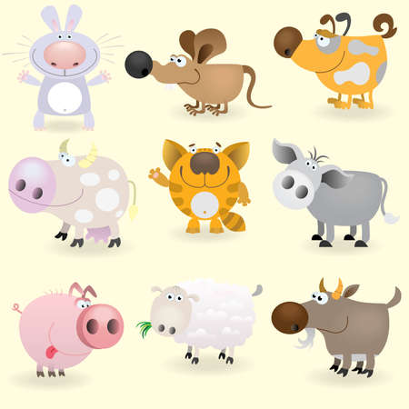 domestic goat: Domestic animals set Illustration