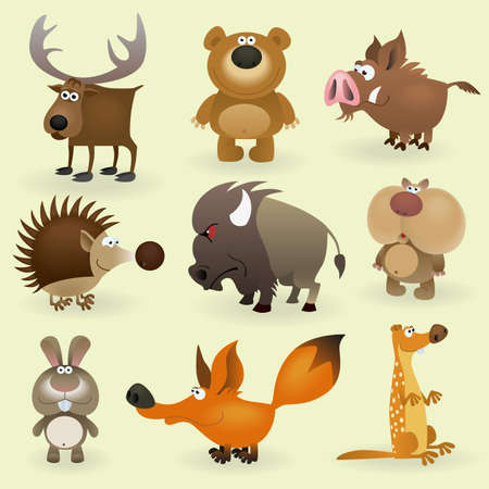 bear cartoon: Wild animals set #2 (Forest)