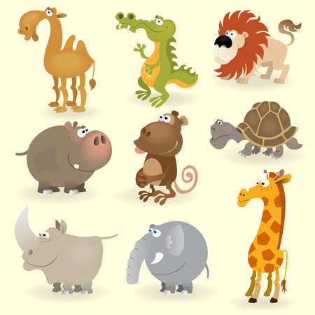rhinoceros: Wild animals set (Animals of Africa) Illustration