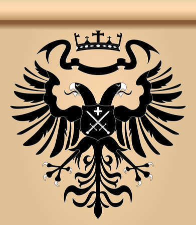 Double-headed heraldic eagle with crown and shield Illustration