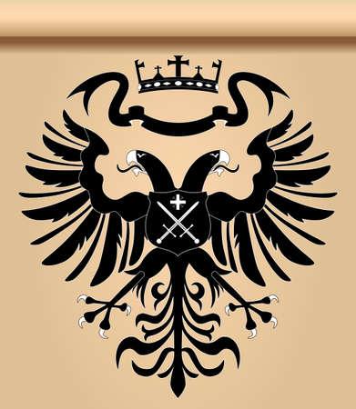 cross and wings: �guila her�ldico bic�fala con corona y escudo