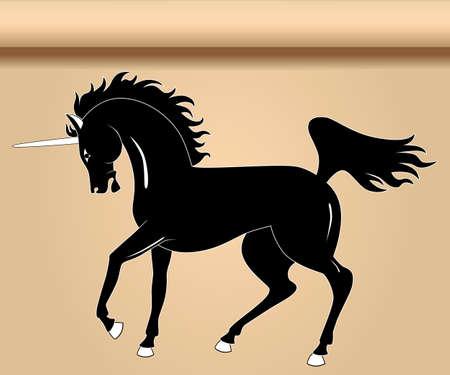 Black heraldic unicorn Vector