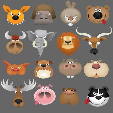 alces alces: Conjunto de iconos de cabezas de animales de dibujos animados Vectores