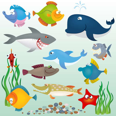 algae: Cartoon fish set