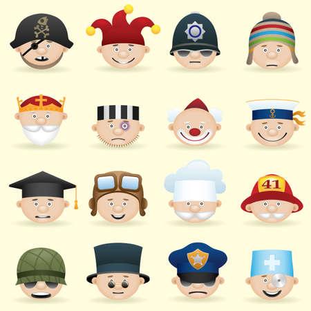 joker face:  People occupations icon set Illustration