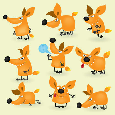 animal watching: Funny cartoon fox set