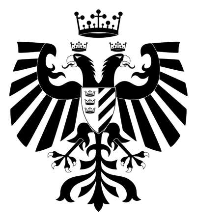 Double-headed heraldic eagle with crown and shield #2 Stock Vector - 9575925