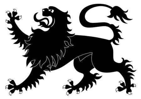 Silhouette of heraldic lion #2 Vector