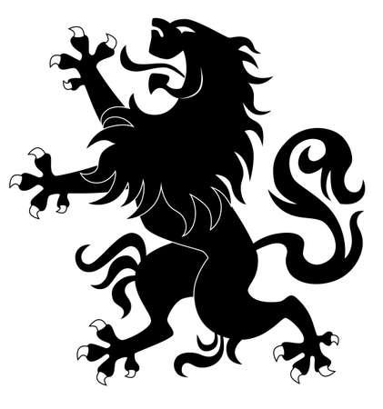 Silhouette of standing heraldic lion #3 Vector