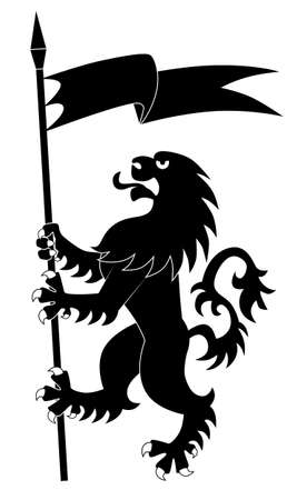Silhouette of standing heraldic lion with flag Vector