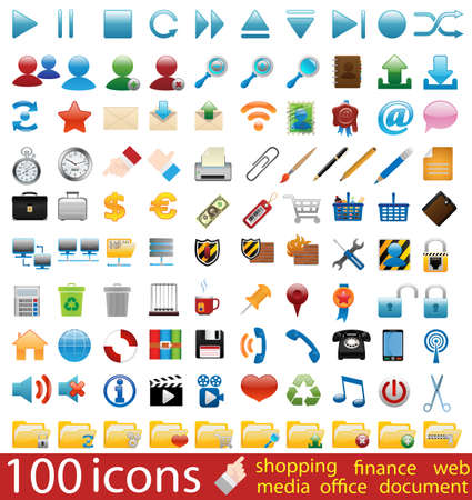 Hundred shiny vector Icons for Web Applications
