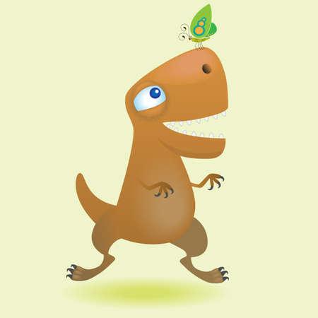 tyrannosaurus rex: Cartoon dinosaur and butterfly (vector illustration) Illustration