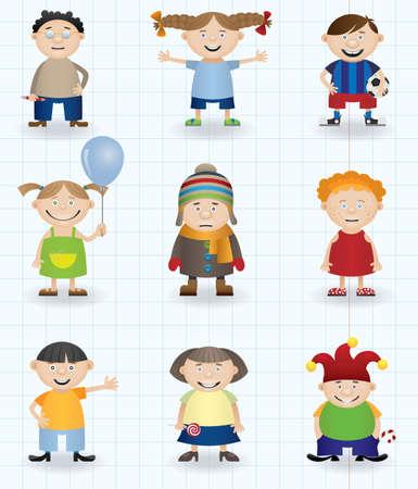 Children (boys and girls cartoon characters) Vector