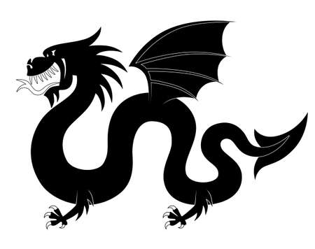 tribal dragon: Silhouette of heraldic dragon