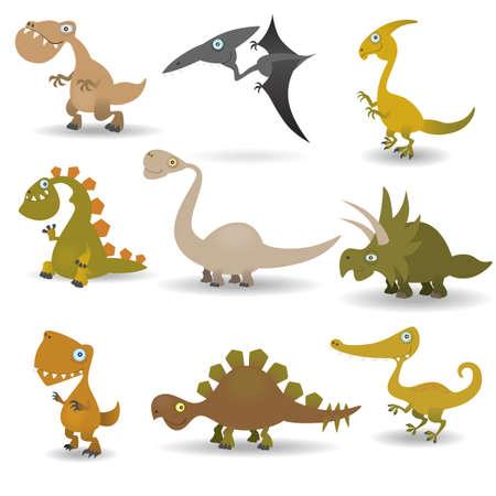 cute dinosaur: Conjunto de dinosaurios Vectores